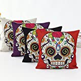 L&J ART 4 PCS 18'' Retro Colorful Mexican Day of The Dead Sugar Skull Flower Linen Pillow Cushion Covers 4NS2