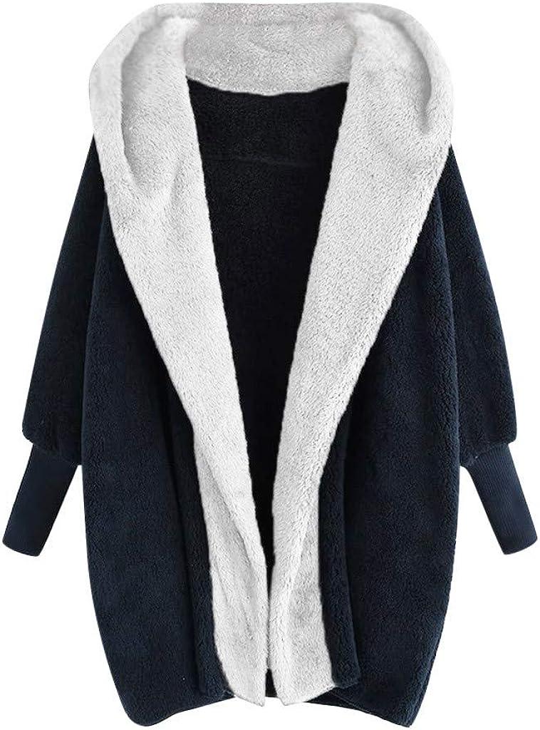 Winter Fleece Jacket Women, NRUTUP Hooded Teddy Bear Jacket Fuzzy Hoodie Cardigan Faux Fur Jacket Warm Oversize (#02 Navy, 6)
