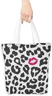 Canvas travel bag Safari Leopard Cheetah Animal Print with Kiss Shape Lipstick Mark Dotted Trend Art Decorative crafts 16.5