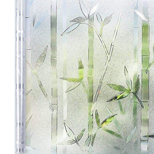 Homein 3D Fensterfolie Selbsthaftend Sichtschutzfolie Blickdicht Klebefolie Dekorfolie Fensterfolie Statisch Selbstklebend ohne Kleber Window Film mit Motiv Anti UV Farbig Bambus 90 x 200 cm