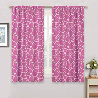 zojihouse Giraffe,Room Darkening Wide Curtains,Abstract Tropical Jungle Animal Skin Pattern Pink Camouflage Style Feminine Design,Blackout Draperies for Bedroom, Pink Cream,W55xL39