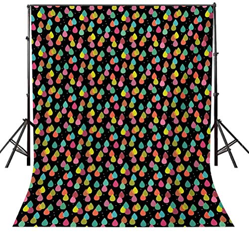 4x6 FT Backdrop Photographers,Abstract Raindrops in Lively Colors Contemporary Graphic Art Design Background for Kid Baby Boy Girl Artistic Portrait Photo Shoot Studio Props Video Drape Vinyl