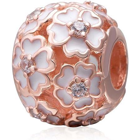 Breloque avec roses en argent sterling 925 pour bracelets Pandora rose gold