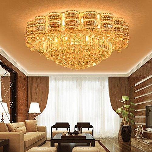 Plafonnier Peaceip en Cristal Rond de Chambre à Coucher d'or de LED (Taille : 100cm)