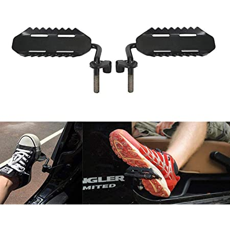 SXMA Foot Pegs Solid Steel Black Foot Rest Kick Panel, Front Foot Pegs Foot Rest for 2007-2017Jeep Wrangler JK & Unlimited