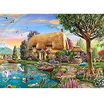 Jigsaw Puzzles for Adults 1000 Piece Puzzles Lakeside Cottage Landscape Large Piece Funny Difficult Puzzle for Adults Family Decoration Puzzle Games  27.56  x 19.69
