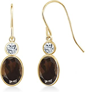 Gem Stone King 1.78 Ct Oval Brown Smoky Quartz White Topaz 14K Yellow Gold Earrings