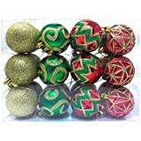 """Joiedomi 24 Pcs 2.36"""" Red, Green and Gold Christmas Ornaments, Shatterproof Christmas Ornaments for Holidays, Party Decoration, Tree Ornaments, and Events"""