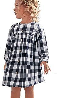 فساتين KYMIDY للفتيات غير رسمية بأكمام طويلة مزينة بمربعات باللون الأسود والأبيض للأطفال (2-8 سنوات)