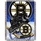 NORTHWEST NHL Boston Bruins Woven Tapestry Throw Blanket, 48' x 60', Home Ice Advantage