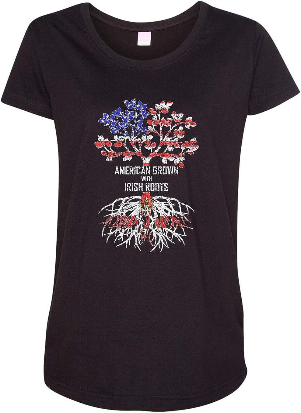 HARD EDGE DESIGN Women's American Grown with Irish Roots, Northern Ireland T-Shirt