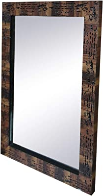 Gallery99 Real Wooden Textured Mirror (Scratch/Dust Proof (21 inch x 15 inch))