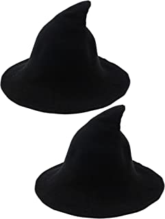 2 Pack Halloween Witch Hat Warm Wool Hats for Women Halloween Party Decor