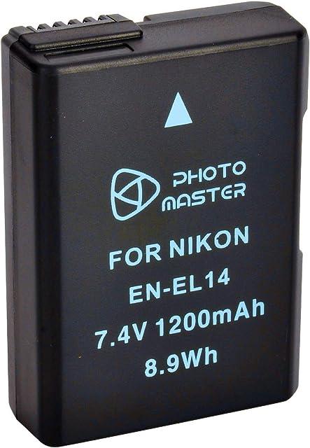 PHOTO MASTER EN-EL14 EN-EL14a Batería Reemplazo (1200mAh) para Nikon D5500 D5300 D5200 D5100 D3500 D3300 D3200 D3100 DF COOLPIX P7800COOLPIX P7700 P7100 P7000 Nikon Cargador MH-24