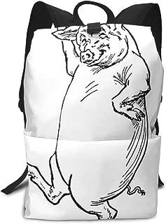 Backpack Dancing Pig Black Zipper Bookbag Daypack Travel Rucksack Gym Bags For Man Women