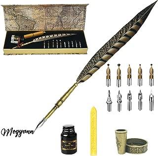 Mogyann Quill Pen Feather Pen Caligrapher Pen Handmade Quill Feather Pen Set Antique Calligraphy Writing Quill Pen (Gold)
