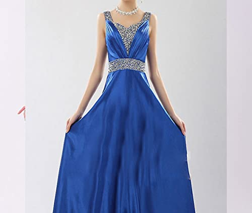 SHJJK Mariée Toast VêteHommests Robe de Soirée Costumes épaules Longue Section V-Cou,Bleu,XXXL