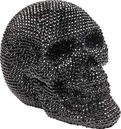 Kare Design Deko Objekt Crystal Skull Schwarz, Totenkopf Accessoire in Glitzer Optik, Nieten Totenschädel, (H/B/T) 14x5x18cm