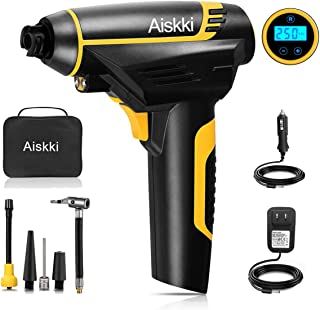 Aiskki Digital Cordless Inflator, Portable Tire Hand Held Vehicle-Mounted Compressor Pump,12V DC 150PSI for Car, Ball, Air Cushion