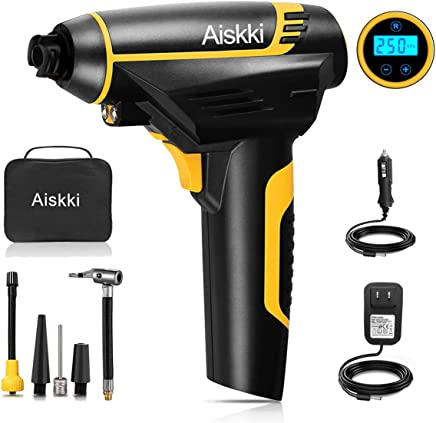 Aiskki Digital Cordless Tire Inflator, Portable Tire Hand Held Vehicle-Mounted Air Compressor Pump