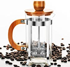French Press Coffee/Tea Maker Espresso Press Milk Frother with 18/8 Stainless Steel Filter High Borosilicate Carafe Durable Bamboo Handle 12oz/350ml by SOPRETY