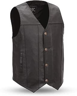 First Mfg Co FMM611BSF-XL Black XLarge Gun Runner Men's Leather Western Vest