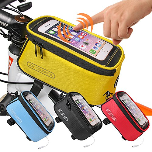JOY COLORFUL Bicycle Bags Bicycle Front Tube Frame Cycling Packages 4.2,4.8,5.5 inches Touch Screen Mobile Phone Bags Professional Bicycle Accessories (Yellow, Large)
