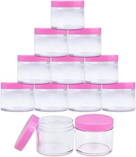 Beauticom 12 PIECES 60 Grams/60 ML (2 Oz) Leak Proof Round Acrylic Container Jars with Screw Cap Lids for Beauty Cosmetic Jewelry Charms Rhinestones (Clear Base with Pink Lids)