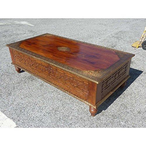 int. d'ailleurs - Table Basse sculptée Palissandre et Laiton - PAL265