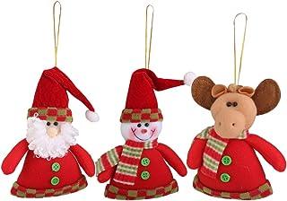 3pcs Adorno Muñeco de Nieve Ciervo Santa Claus Colgante Decoración para Árbol Navidad