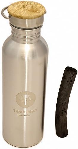 Binchotan et gourde inox 750 ml – purification charbon actif bambou- filtre chlore eau robinet - Bouteille acier inox...