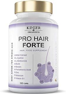 PRO HAIR FORTE - Potente Suplemento Capilar Multi-Nutritivo y Reforzador | Con Biotina, Queratina, Extracto de Mijo | Acción Rápida y Visible | 120 Cápsulas
