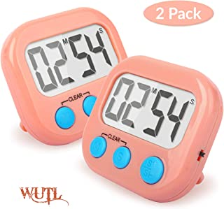 Kitchen Timer 2 Pack Digital Magnetic Small Timers for Classroom, Kids, Teachers (Pink)