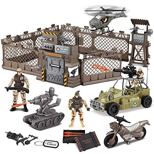 JOYIN Juguetes de Combate Militar Que Incluye Base Militar, Vehículos Militares, Figuras de Acción de Hombres del Ejército y Accesorios de armamento