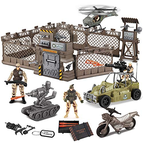 JOYIN Military Base Toys Set Including Military Base, Military Vehicles, Army Men Action Figures and Weapon Gear Accessories Military Combat Toys