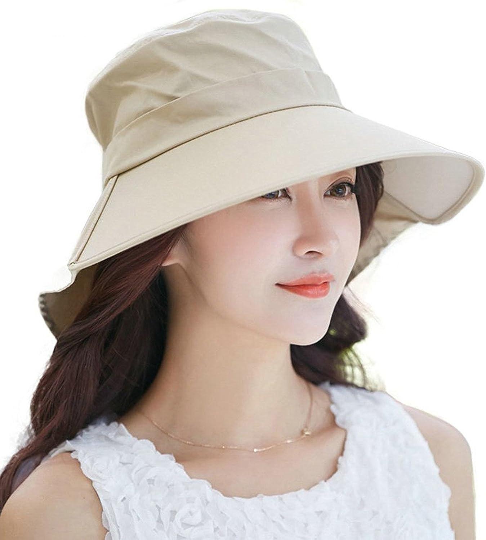 HINDAWI Sun Hat Wide Brim Sun Hats for Women UV Predection Floppy Beach Womens Summer Flap Cover Cap Beige