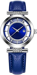 Women's Diamond Ultrathin 10mm Quartz Watch 35mm Leather Strap Stainless Steel Fashion Waterproof