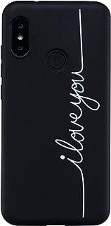 49b19eeab55 CUAgain Funda Compatible con Xiaomi Mi A2 Lite/Redmi 6 Pro Silicona Dibujos  Motivo Negro