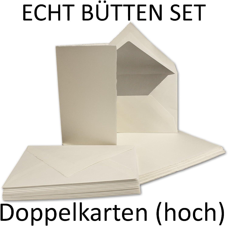 SET aus 50x B6 Doppelkarten (Hoch) & 50x Umschläge, Umschläge, Umschläge, ECHTES BÜTTENPAPIER, 226 x 175 mm, Weiß halbmatt, ORIGINAL ZERKALL-BÜTTEN B013BTX5K8 | Neueste Technologie  d4a04a