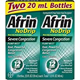 Afrin No Drip 12-Hour Pump Mist, Severe Congestion - 2 Pumps Each 2/3 Oz - Total 1.33 Oz