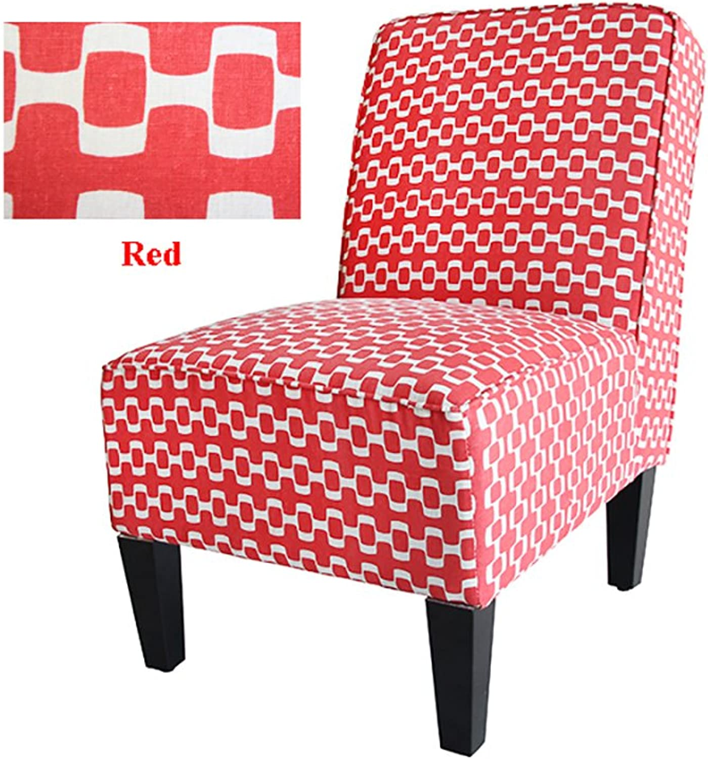 Cafe Lounge Couch Ramie Cotton Fabric Accent Dining Relax Chair Pub Seat Kitchen (RED)