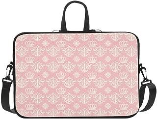 Cream Crowns and Damasks On Pink Pattern Briefcase Laptop Bag Messenger Shoulder Work Bag Crossbody Handbag for Business Travelling