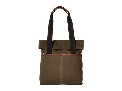 Shinola Detroit Mack Fold-Over Tote Waxed Canvas/Navigator GM (Moss) Handbags