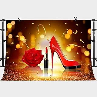 PHMOJEN Lady Makeup Backdrop Red Lipstick Rose High Heel Bokeh Photography Background Vinyl 10x7ft Bachelorette Party Hen Party Banner LYPH554
