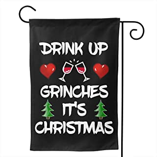 Nfuquyamluggage Beautiful Garden Flags for Outdoors, Drink Up Grinches Xmas Decoration | Durable, Polyester
