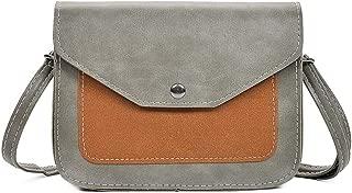 Docooler Fashion Women Contrast Color PU Leather Crossbody Bag Flap Front Vintage Messenger Bag Casual Shoulder Bag