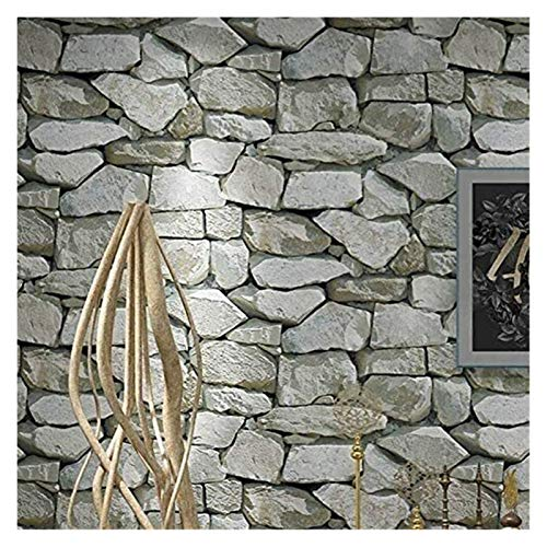 UUPA Papel Pintado Impermeable Vintage Efecto de Piedra Rústico Realista Textura de Piedra Sintética Vinilo (Color : 10m/53cm B)