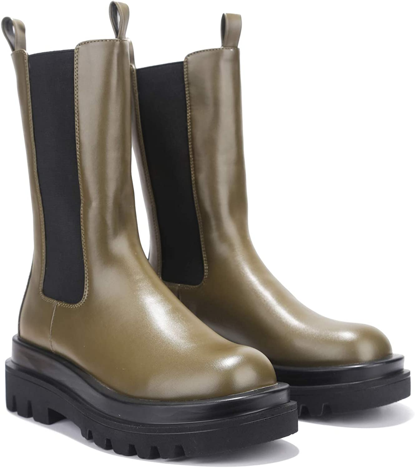 Cape Robbin Vegas Chelsea Boots for Women, Womens Mid Calf Booties with Chunky Block Heels