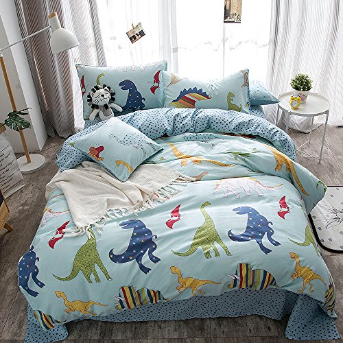 Merryfeel 100% cotton dinosaur print Duvet Cover Set for Kids Bedding - Full
