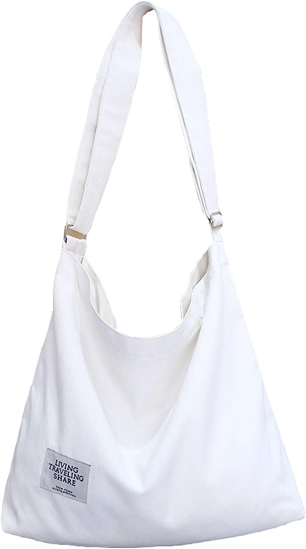 Covelin Women's Retro Large Size Canvas Shoulder Bag Hobo Crossbody Handbag Casual Tote